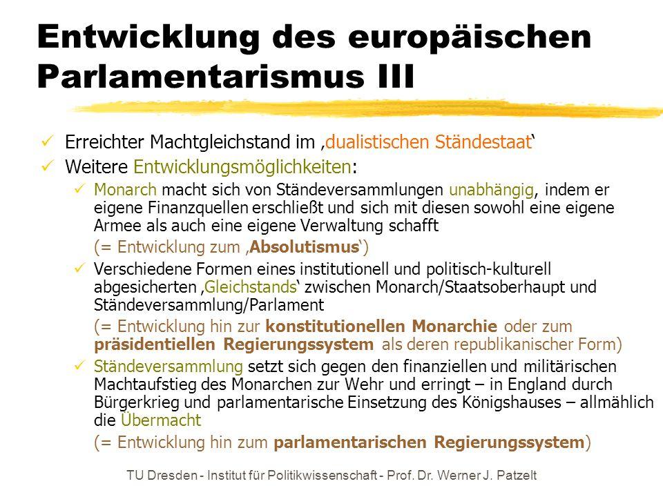 TU Dresden - Institut für Politikwissenschaft - Prof. Dr. Werner J. Patzelt Entwicklung des europäischen Parlamentarismus III Erreichter Machtgleichst
