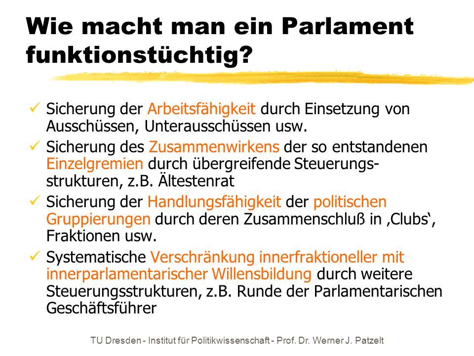 TU Dresden - Institut für Politikwissenschaft - Prof. Dr. Werner J. Patzelt Wie macht man ein Parlament funktionstüchtig? Sicherung der Arbeitsfähigke