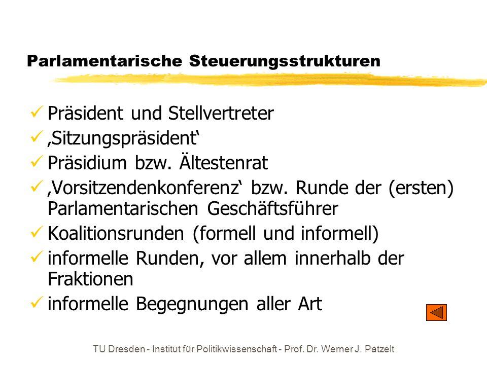 TU Dresden - Institut für Politikwissenschaft - Prof. Dr. Werner J. Patzelt Parlamentarische Steuerungsstrukturen Präsident und Stellvertreter Sitzung