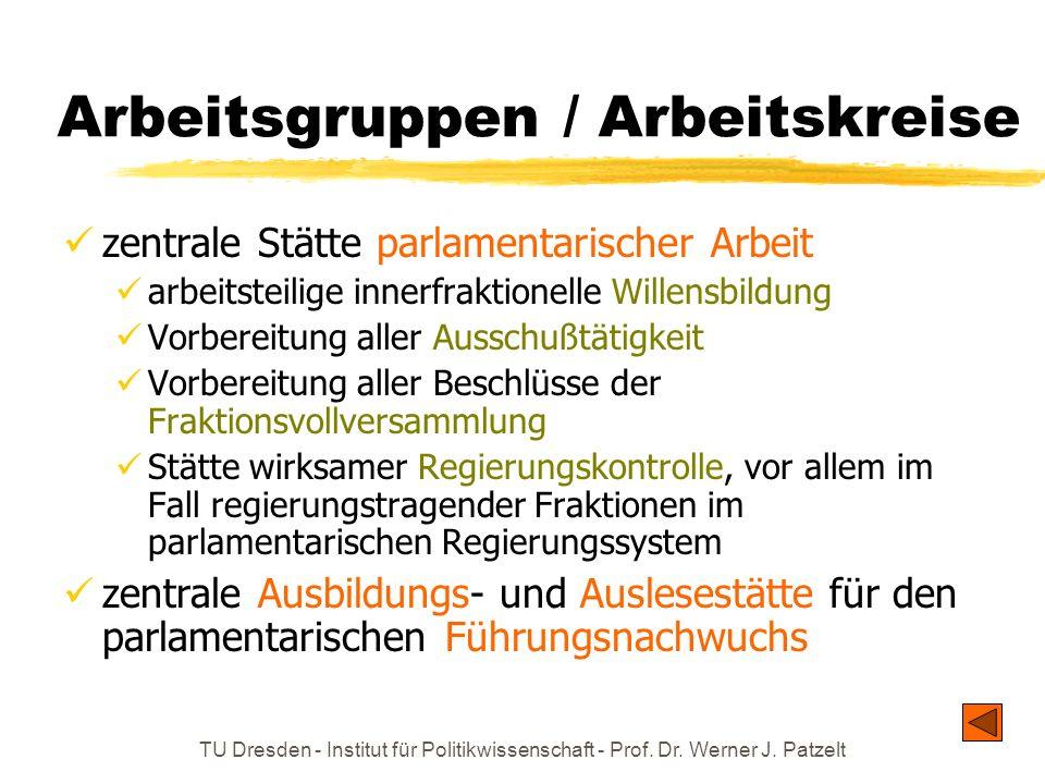 TU Dresden - Institut für Politikwissenschaft - Prof. Dr. Werner J. Patzelt Arbeitsgruppen / Arbeitskreise zentrale Stätte parlamentarischer Arbeit ar