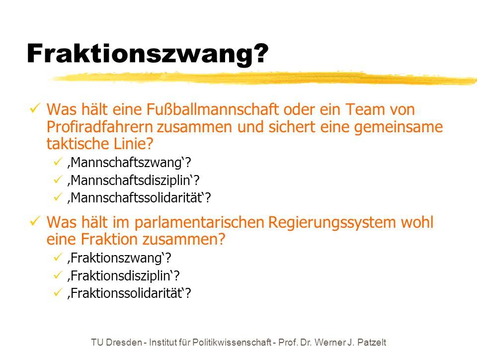 TU Dresden - Institut für Politikwissenschaft - Prof. Dr. Werner J. Patzelt Fraktionszwang? Was hält eine Fußballmannschaft oder ein Team von Profirad