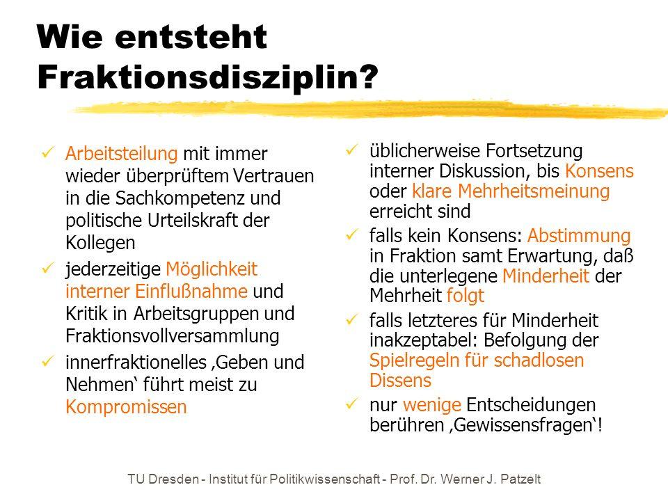 TU Dresden - Institut für Politikwissenschaft - Prof. Dr. Werner J. Patzelt Wie entsteht Fraktionsdisziplin? Arbeitsteilung mit immer wieder überprüft