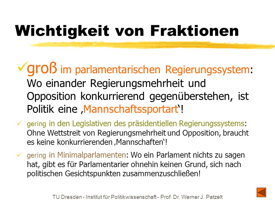 TU Dresden - Institut für Politikwissenschaft - Prof. Dr. Werner J. Patzelt Wichtigkeit von Fraktionen groß im parlamentarischen Regierungssystem: Wo