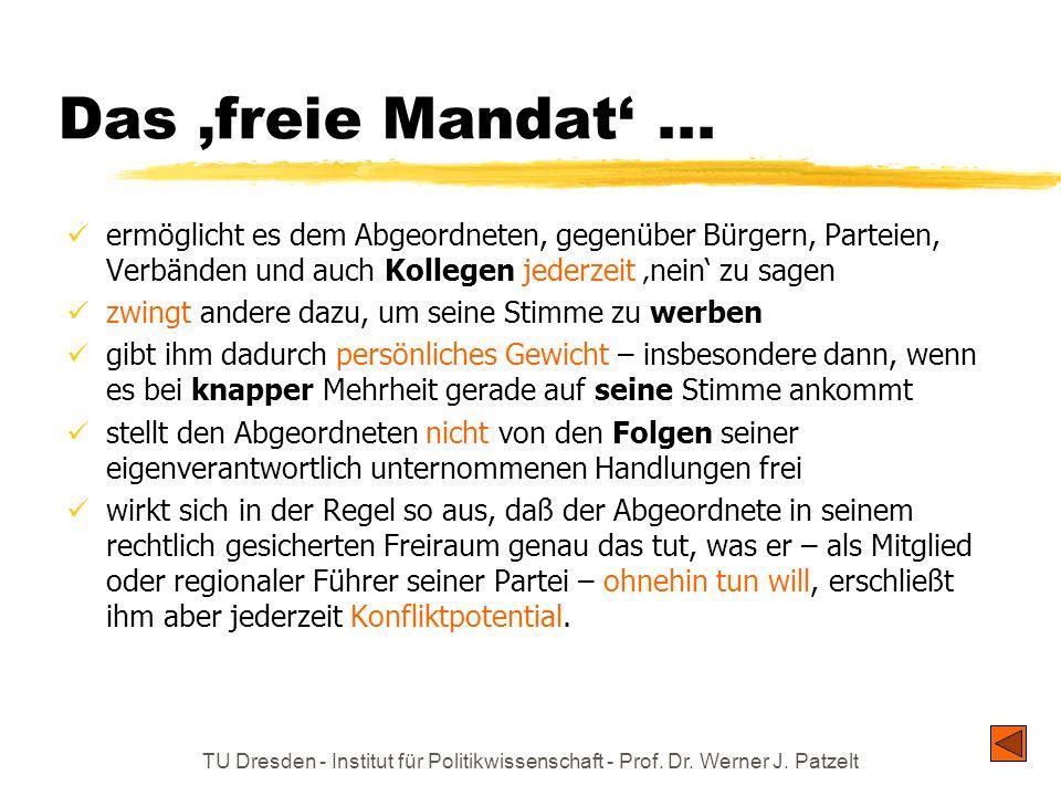 TU Dresden - Institut für Politikwissenschaft - Prof. Dr. Werner J. Patzelt Das freie Mandat... ermöglicht es dem Abgeordneten, gegenüber Bürgern, Par