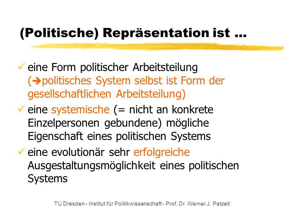 TU Dresden - Institut für Politikwissenschaft - Prof. Dr. Werner J. Patzelt (Politische) Repräsentation ist... eine Form politischer Arbeitsteilung (