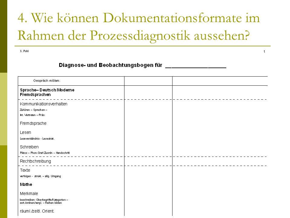 4. Wie können Dokumentationsformate im Rahmen der Prozessdiagnostik aussehen?