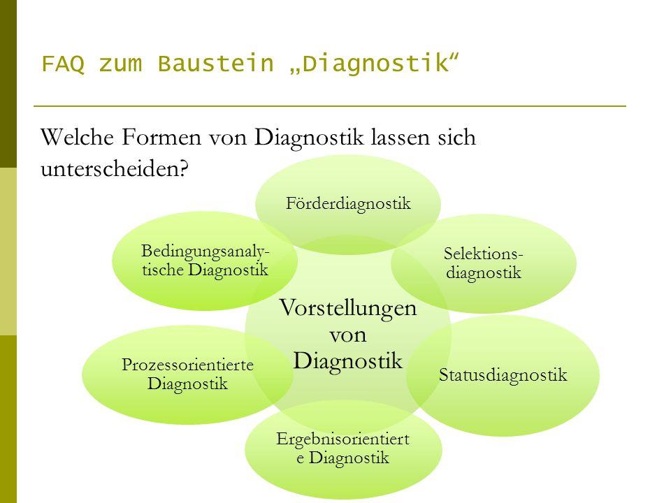 Welche Formen von Diagnostik lassen sich unterscheiden? FAQ zum Baustein Diagnostik Vorstellungen von Diagnostik Förderdiagnostik Selektions- diagnost