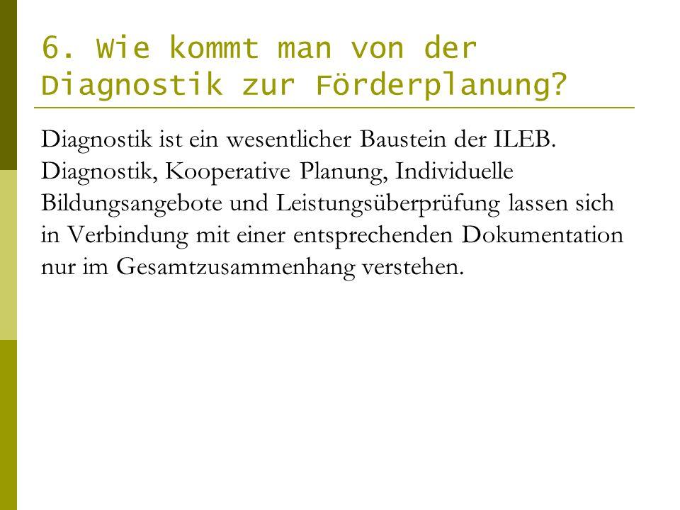 6. Wie kommt man von der Diagnostik zur Förderplanung? Diagnostik ist ein wesentlicher Baustein der ILEB. Diagnostik, Kooperative Planung, Individuell