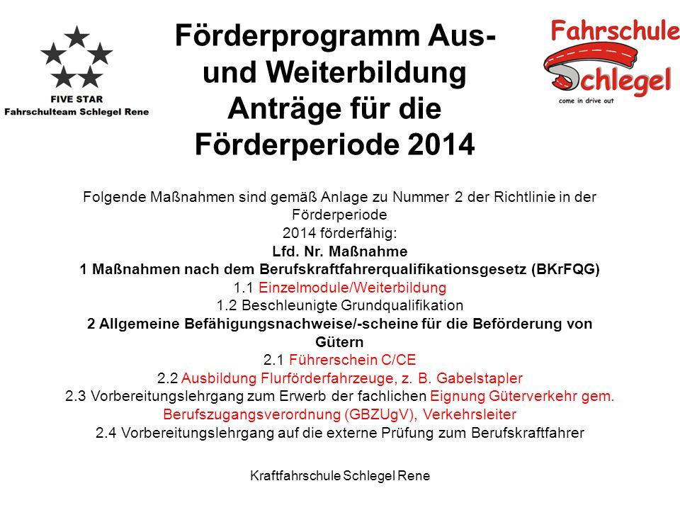 Kraftfahrschule Schlegel Rene Förderprogramm Aus- und Weiterbildung Anträge für die Förderperiode 2014 Folgende Maßnahmen sind gemäß Anlage zu Nummer 2 der Richtlinie in der Förderperiode 2014 förderfähig: Lfd.
