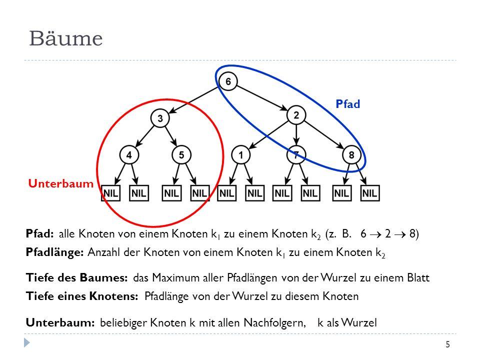 Bäume Pfad: alle Knoten von einem Knoten k 1 zu einem Knoten k 2 (z. B. 6 2 8) Pfadlänge: Anzahl der Knoten von einem Knoten k 1 zu einem Knoten k 2 T