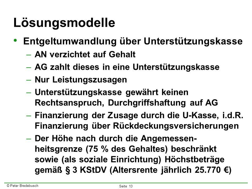 © Peter Bredebusch Seite 13 Lösungsmodelle Entgeltumwandlung über Unterstützungskasse –AN verzichtet auf Gehalt –AG zahlt dieses in eine Unterstützung