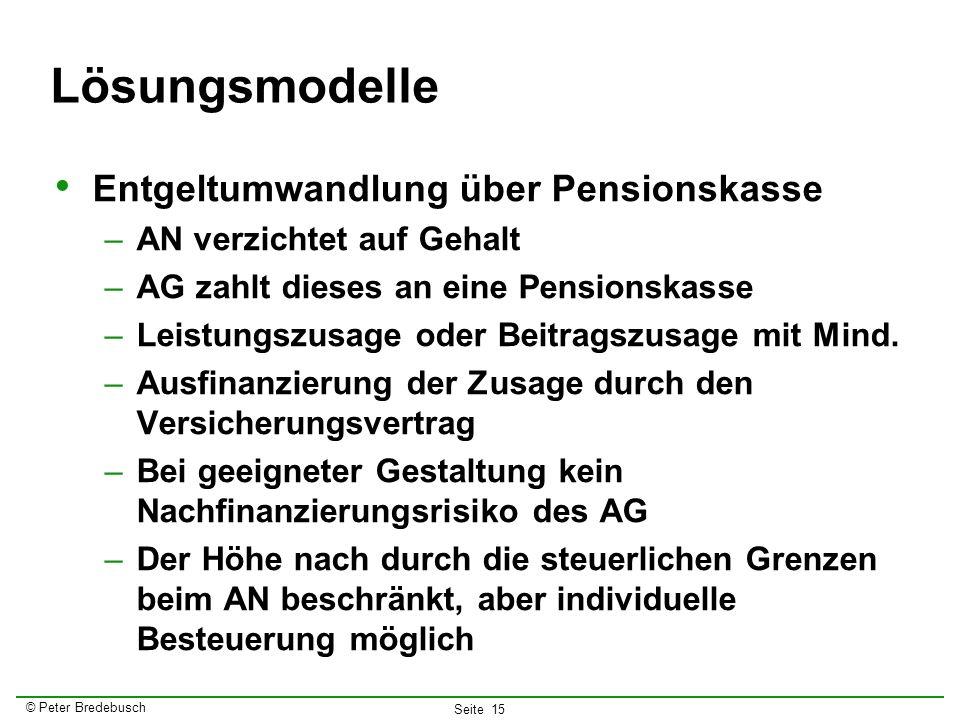 © Peter Bredebusch Seite 15 Lösungsmodelle Entgeltumwandlung über Pensionskasse –AN verzichtet auf Gehalt –AG zahlt dieses an eine Pensionskasse –Leis
