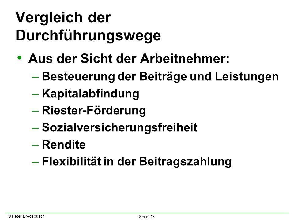 © Peter Bredebusch Seite 18 Vergleich der Durchführungswege Aus der Sicht der Arbeitnehmer: –Besteuerung der Beiträge und Leistungen –Kapitalabfindung