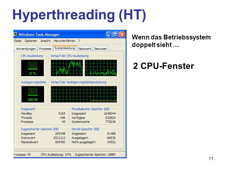 11 Hyperthreading (HT) 2 CPU-Fenster Wenn das Betriebssystem doppelt sieht …