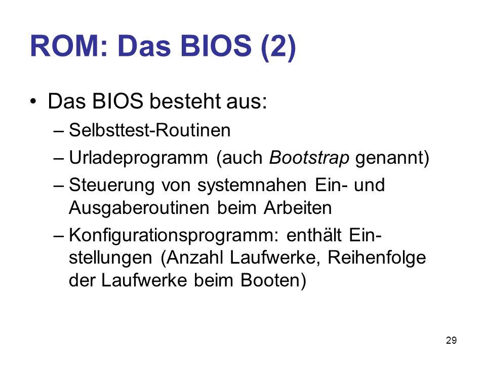 29 ROM: Das BIOS (2) Das BIOS besteht aus: –Selbsttest-Routinen –Urladeprogramm (auch Bootstrap genannt) –Steuerung von systemnahen Ein- und Ausgabero