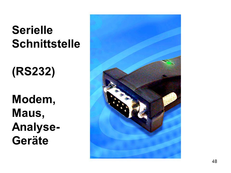 48 Serielle Schnittstelle (RS232) Modem, Maus, Analyse- Geräte