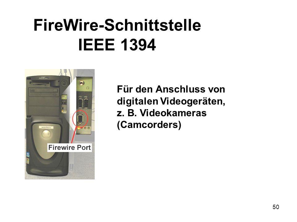 50 Für den Anschluss von digitalen Videogeräten, z. B. Videokameras (Camcorders) FireWire-Schnittstelle IEEE 1394