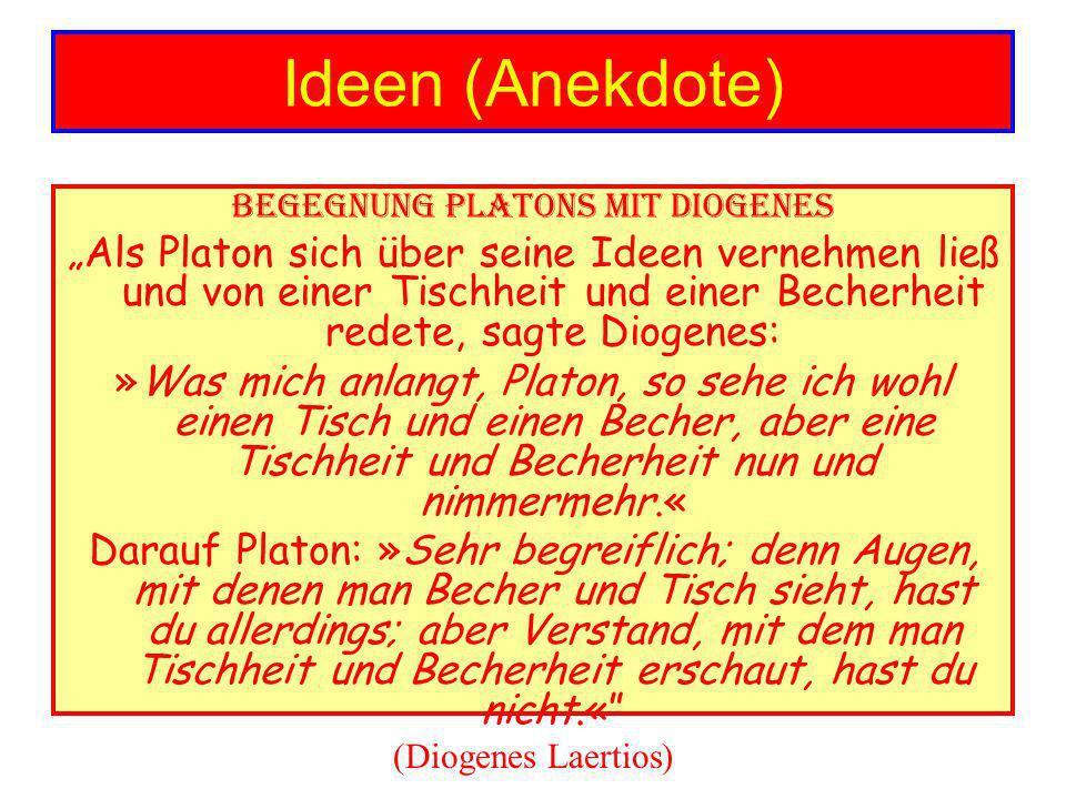 Ideen (Anekdote) Begegnung Platons mit Diogenes Als Platon sich über seine Ideen vernehmen ließ und von einer Tischheit und einer Becherheit redete, sagte Diogenes: »Was mich anlangt, Platon, so sehe ich wohl einen Tisch und einen Becher, aber eine Tischheit und Becherheit nun und nimmermehr.« Darauf Platon: »Sehr begreiflich; denn Augen, mit denen man Becher und Tisch sieht, hast du allerdings; aber Verstand, mit dem man Tischheit und Becherheit erschaut, hast du nicht.« (Diogenes Laertios)
