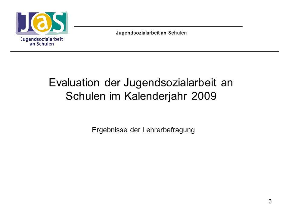 Jugendsozialarbeit an Schulen Inhalt: 1.Teilnehmende Schulen 2.Grundgesamtheit und Rücklaufquote 3.Ergebnisse der Auswertung 4.Fazit 4