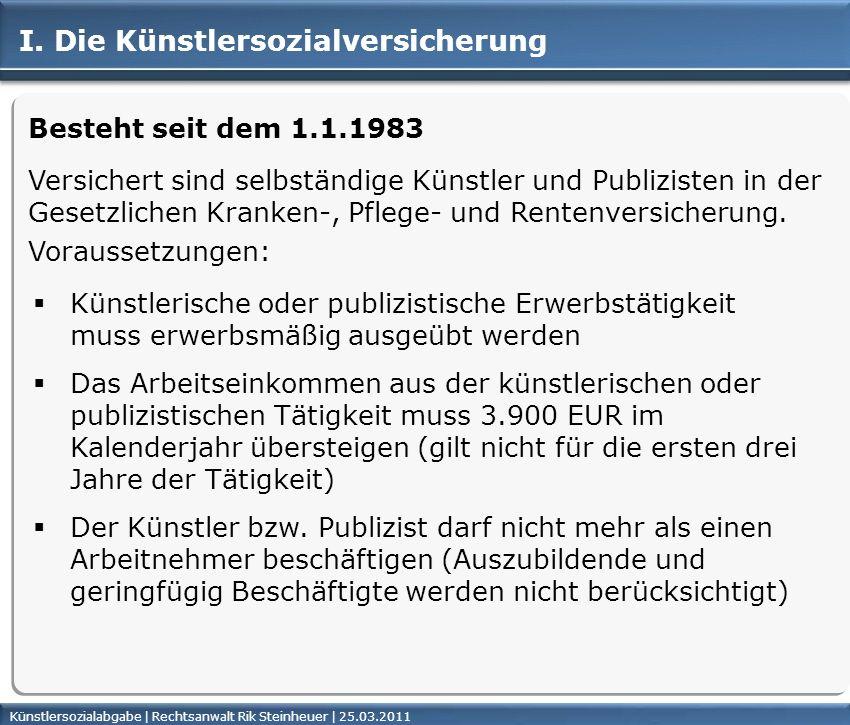 Künstlersozialabgabe | Rechtsanwalt Rik Steinheuer | 25.03.2011Seite 3 Besteht seit dem 1.1.1983 Künstlerische oder publizistische Erwerbstätigkeit mu