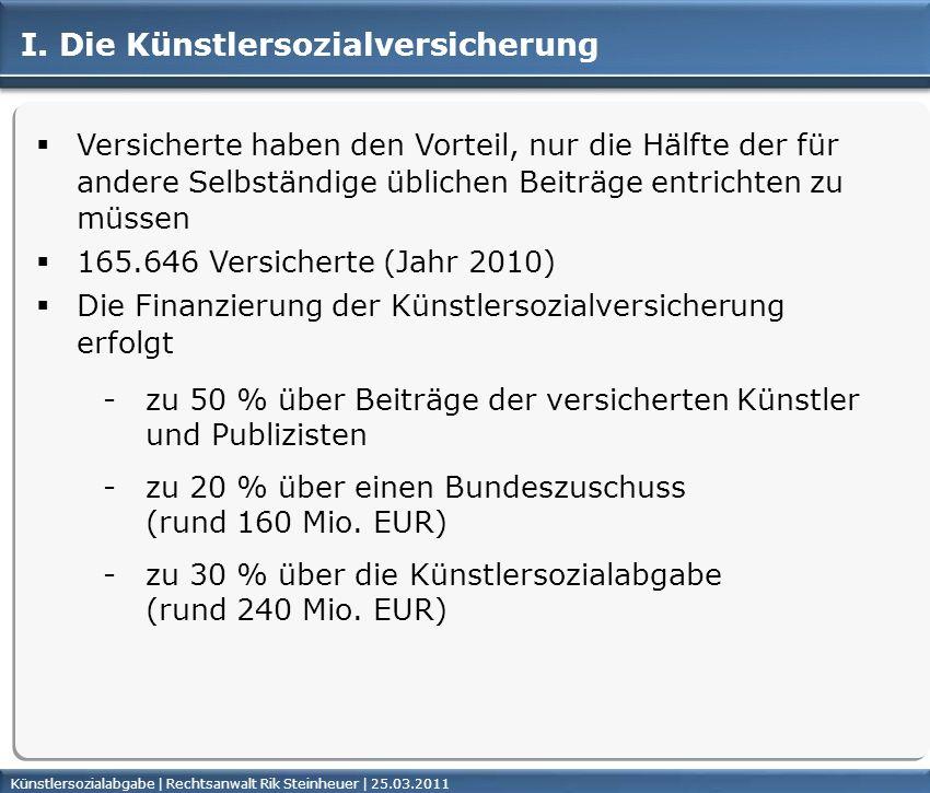 Künstlersozialabgabe | Rechtsanwalt Rik Steinheuer | 25.03.2011Seite 4 Versicherte haben den Vorteil, nur die Hälfte der für andere Selbständige üblic