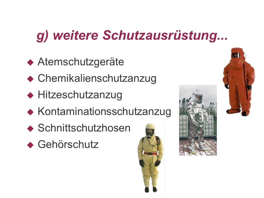 g) weitere Schutzausrüstung... Atemschutzgeräte Chemikalienschutzanzug Hitzeschutzanzug Kontaminationsschutzanzug Schnittschutzhosen Gehörschutz