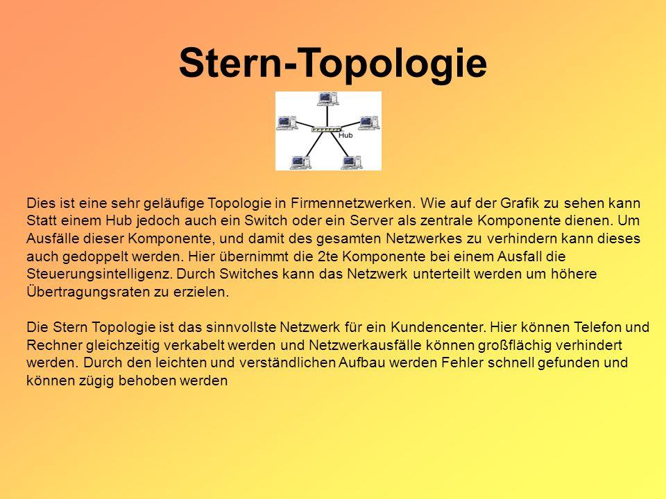 Stern-Topologie Dies ist eine sehr geläufige Topologie in Firmennetzwerken.