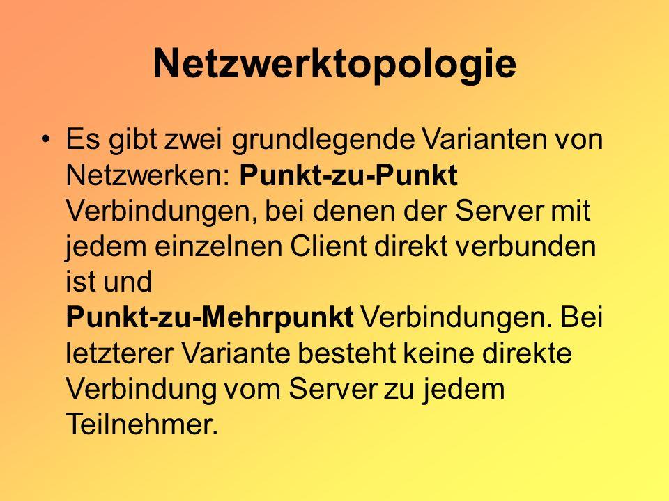 Netzwerktopologie Es gibt zwei grundlegende Varianten von Netzwerken: Punkt-zu-Punkt Verbindungen, bei denen der Server mit jedem einzelnen Client direkt verbunden ist und Punkt-zu-Mehrpunkt Verbindungen.