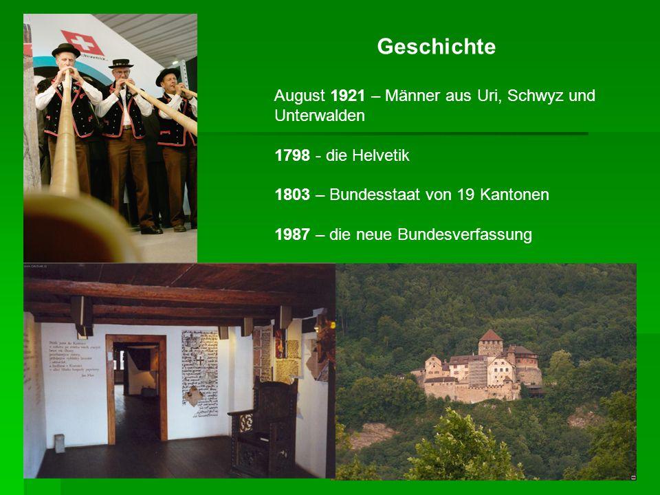 Geschichte August 1921 – Männer aus Uri, Schwyz und Unterwalden 1798 - die Helvetik 1803 – Bundesstaat von 19 Kantonen 1987 – die neue Bundesverfassun