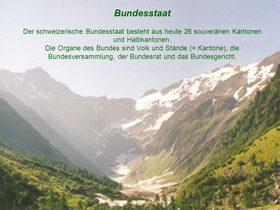Bundesstaat Der schweizerische Bundesstaat besteht aus heute 26 souveränen Kantonen und Halbkantonen. Die Organe des Bundes sind Volk und Stände (= Ka