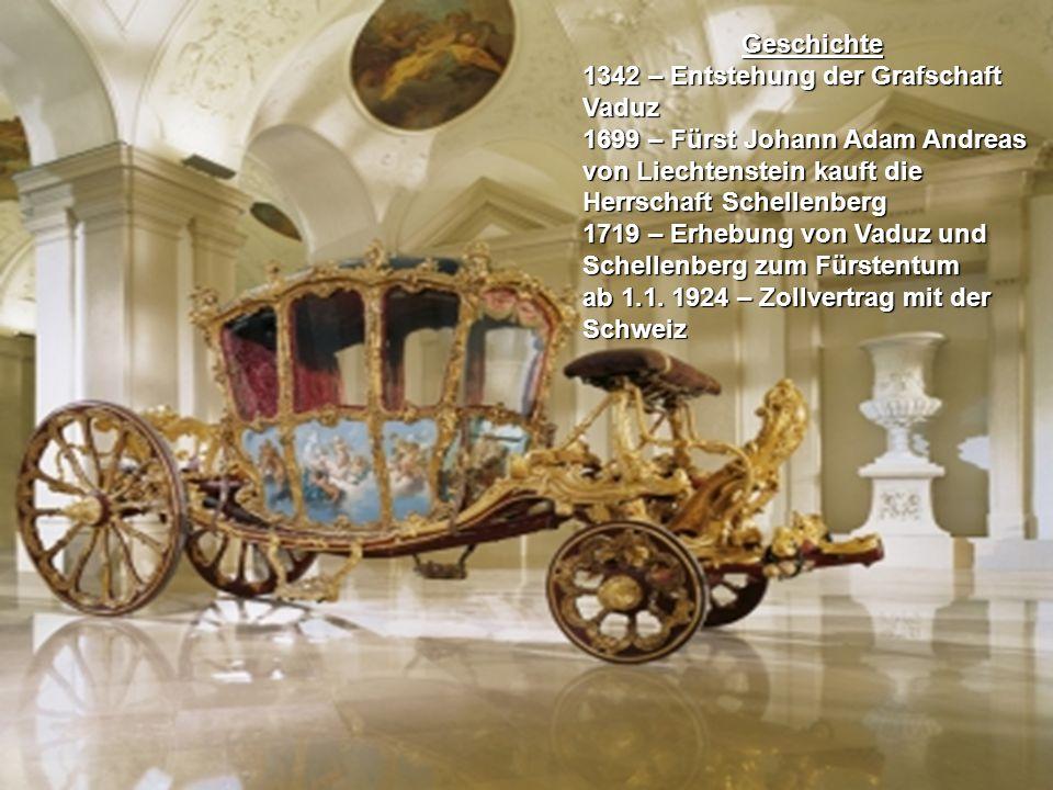 Geschichte 1342 – Entstehung der Grafschaft Vaduz 1699 – Fürst Johann Adam Andreas von Liechtenstein kauft die Herrschaft Schellenberg 1719 – Erhebung von Vaduz und Schellenberg zum Fürstentum ab 1.1.