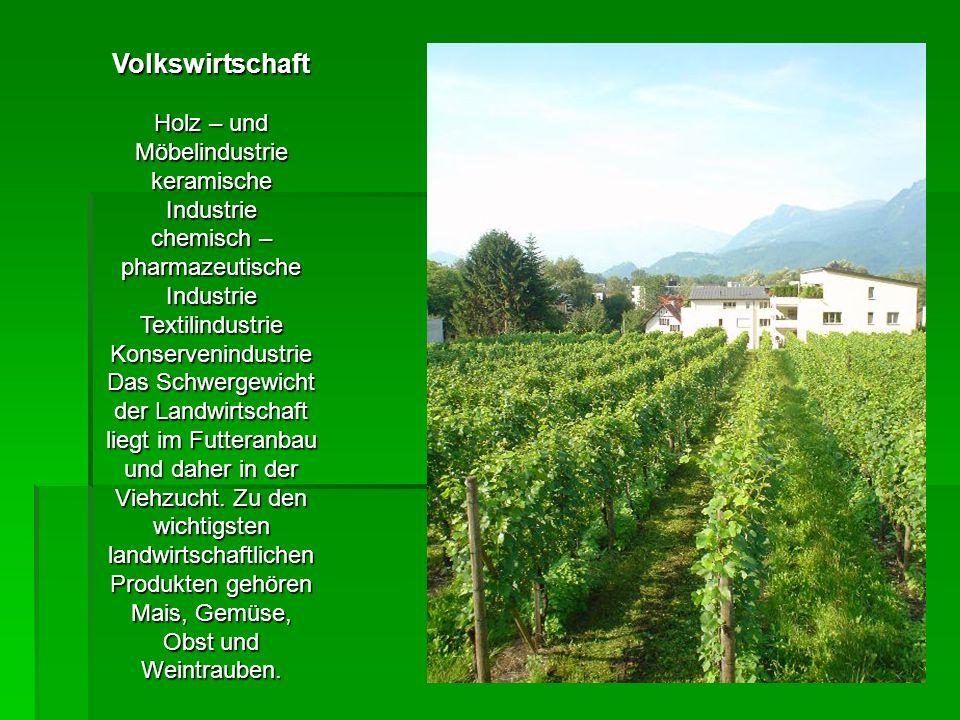 Volkswirtschaft Holz – und Möbelindustrie keramische Industrie chemisch – pharmazeutische Industrie TextilindustrieKonservenindustrie Das Schwergewicht der Landwirtschaft liegt im Futteranbau und daher in der Viehzucht.