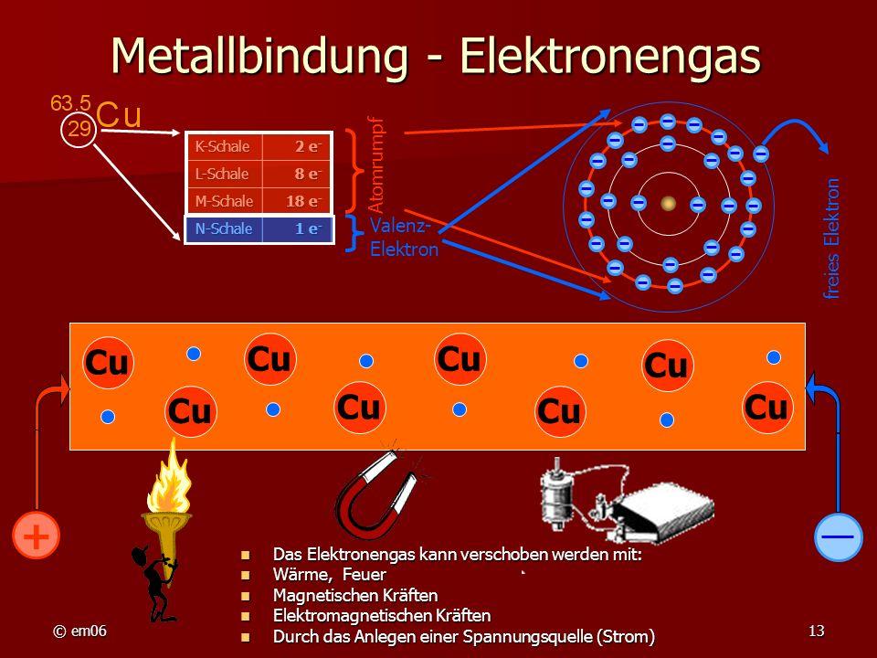 © em0613 Metallbindung - Elektronengas Das Elektronengas kann verschoben werden mit: Das Elektronengas kann verschoben werden mit: Wärme, Feuer Wärme,