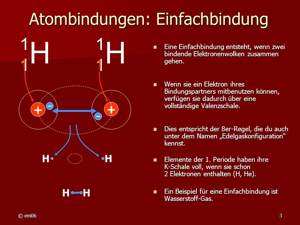 © em063 Atombindungen: Einfachbindung Eine Einfachbindung entsteht, wenn zwei bindende Elektronenwolken zusammen gehen. Eine Einfachbindung entsteht,