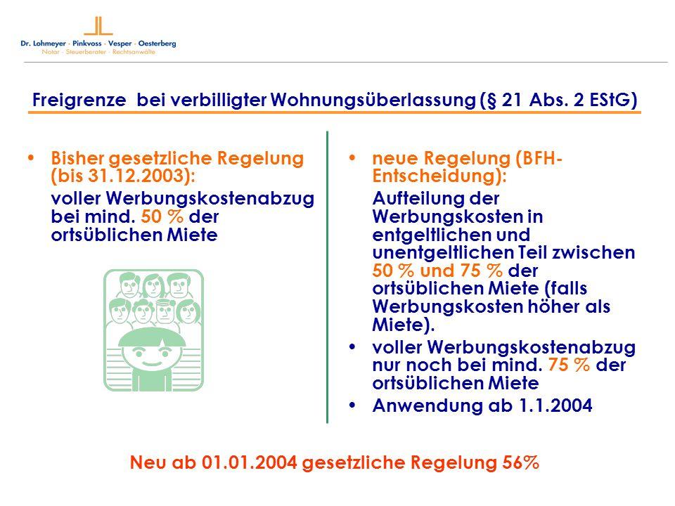 Bisher gesetzliche Regelung (bis 31.12.2003): voller Werbungskostenabzug bei mind. 50 % der ortsüblichen Miete neue Regelung (BFH- Entscheidung): Auft
