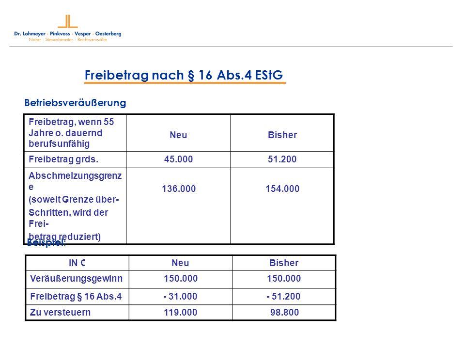 Freibetrag nach § 16 Abs.4 EStG Betriebsveräußerung Freibetrag, wenn 55 Jahre o. dauernd berufsunfähig NeuBisher Freibetrag grds.45.00051.200 Abschmel