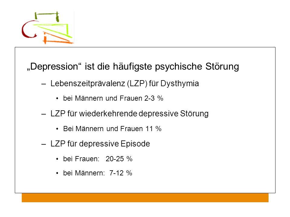 Depression ist die häufigste psychische Störung –Lebenszeitprävalenz (LZP) für Dysthymia bei Männern und Frauen 2-3 % –LZP für wiederkehrende depressi