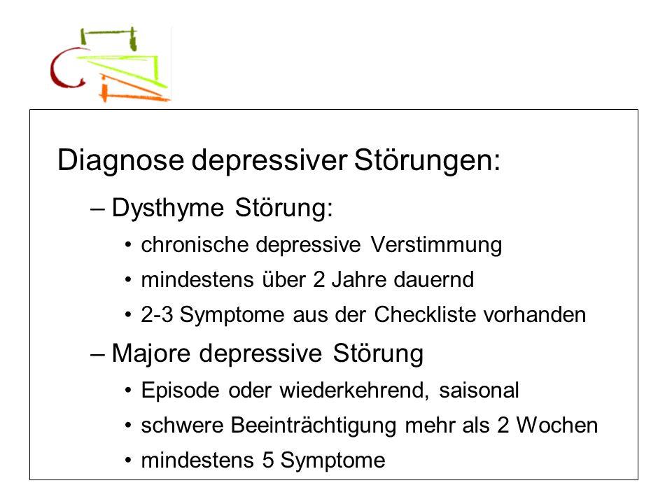 Diagnose depressiver Störungen: –Dysthyme Störung: chronische depressive Verstimmung mindestens über 2 Jahre dauernd 2-3 Symptome aus der Checkliste v