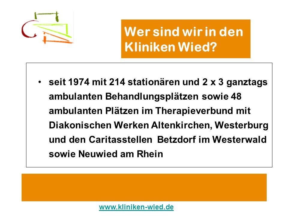 Wer sind wir in den Kliniken Wied? seit 1974 mit 214 stationären und 2 x 3 ganztags ambulanten Behandlungsplätzen sowie 48 ambulanten Plätzen im Thera