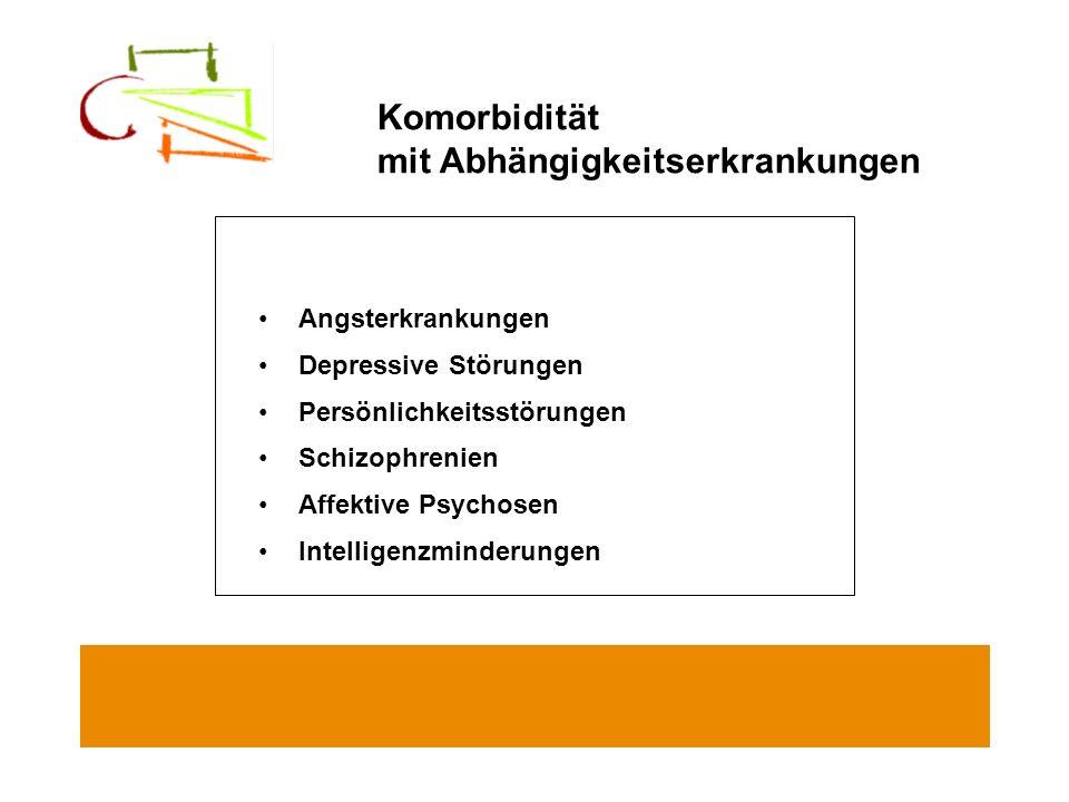 Angsterkrankungen Depressive Störungen Persönlichkeitsstörungen Schizophrenien Affektive Psychosen Intelligenzminderungen Komorbidität mit Abhängigkei
