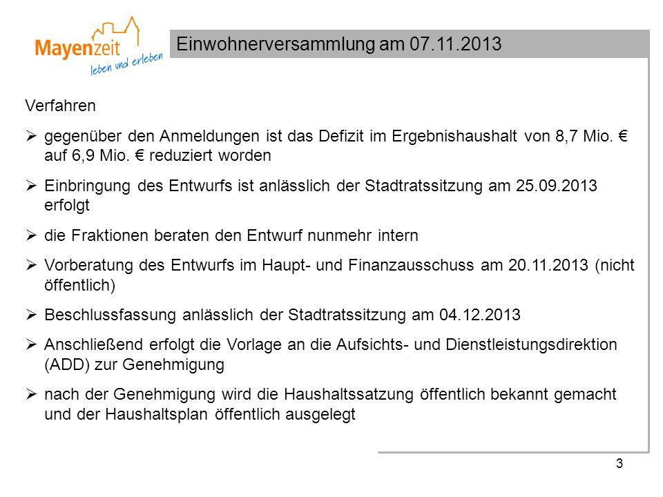Einwohnerversammlung am 07.11.2013 3 Verfahren gegenüber den Anmeldungen ist das Defizit im Ergebnishaushalt von 8,7 Mio.