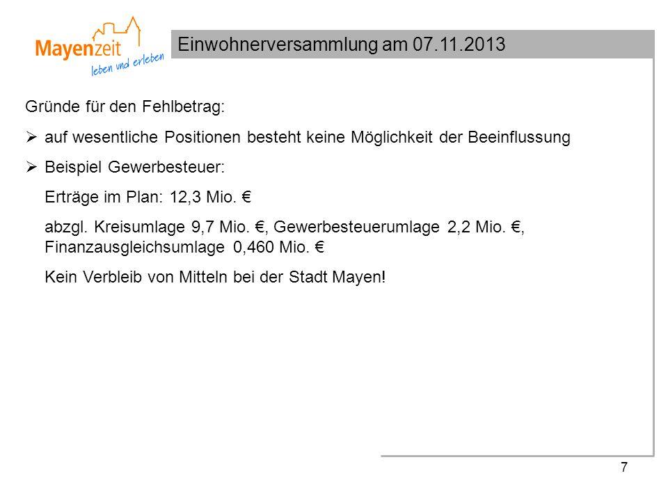 Einwohnerversammlung am 07.11.2013 7 Gründe für den Fehlbetrag: auf wesentliche Positionen besteht keine Möglichkeit der Beeinflussung Beispiel Gewerbesteuer: Erträge im Plan: 12,3 Mio.