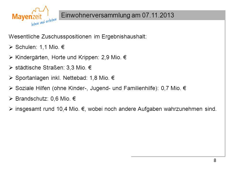 Einwohnerversammlung am 07.11.2013 8 Wesentliche Zuschusspositionen im Ergebnishaushalt: Schulen: 1,1 Mio.