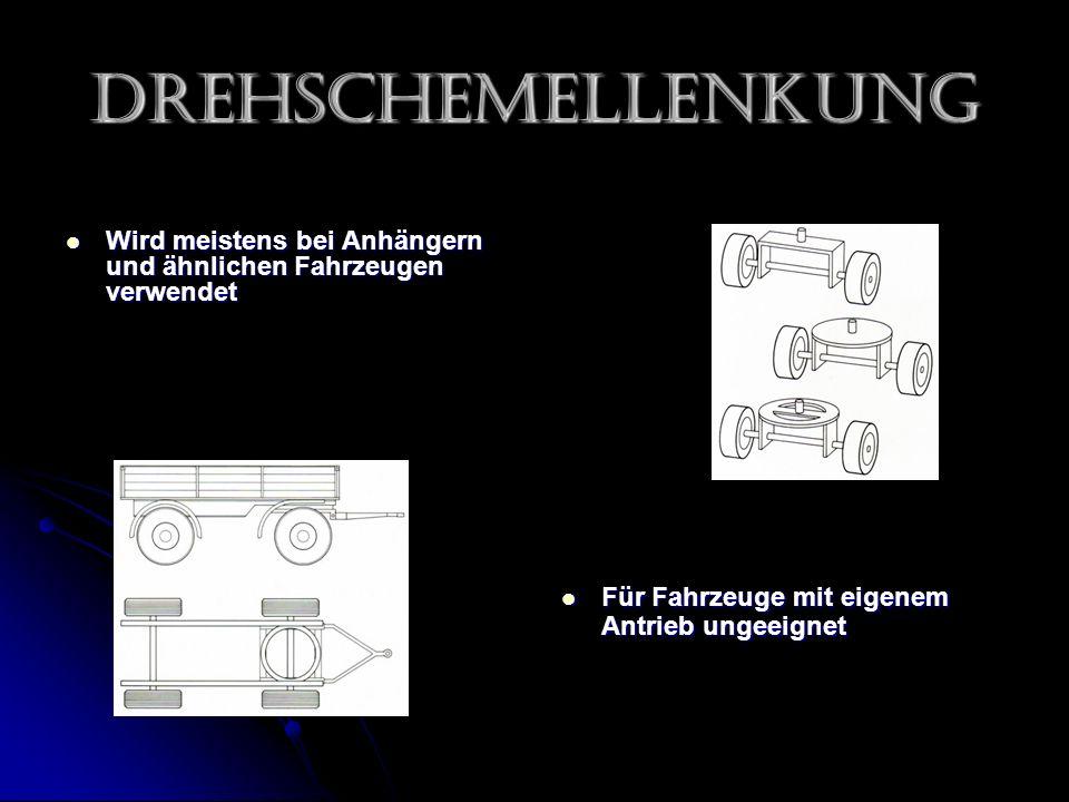 Drehschemellenkung Wird meistens bei Anhängern und ähnlichen Fahrzeugen verwendet Wird meistens bei Anhängern und ähnlichen Fahrzeugen verwendet Für Fahrzeuge mit eigenem Antrieb ungeeignet Für Fahrzeuge mit eigenem Antrieb ungeeignet