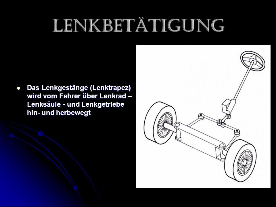 Lenkbetätigung Das Lenkgestänge (Lenktrapez) wird vom Fahrer über Lenkrad – Lenksäule - und Lenkgetriebe hin- und herbewegt Das Lenkgestänge (Lenktrapez) wird vom Fahrer über Lenkrad – Lenksäule - und Lenkgetriebe hin- und herbewegt