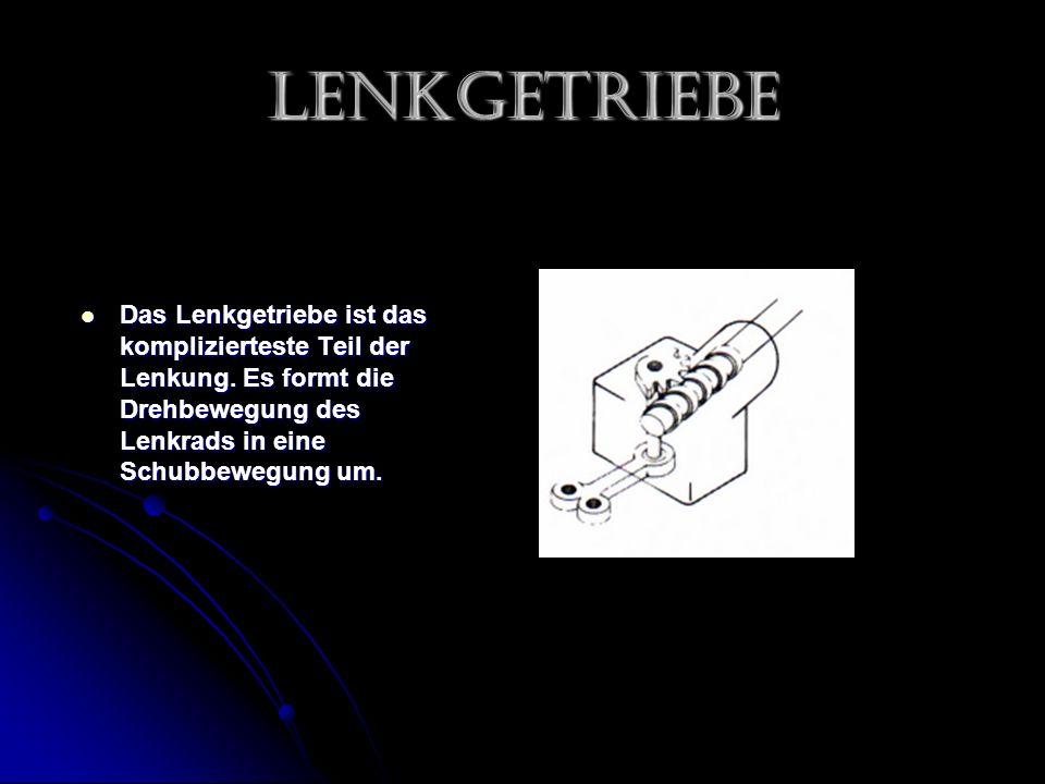 Lenkgetriebe Das Lenkgetriebe ist das komplizierteste Teil der Lenkung.