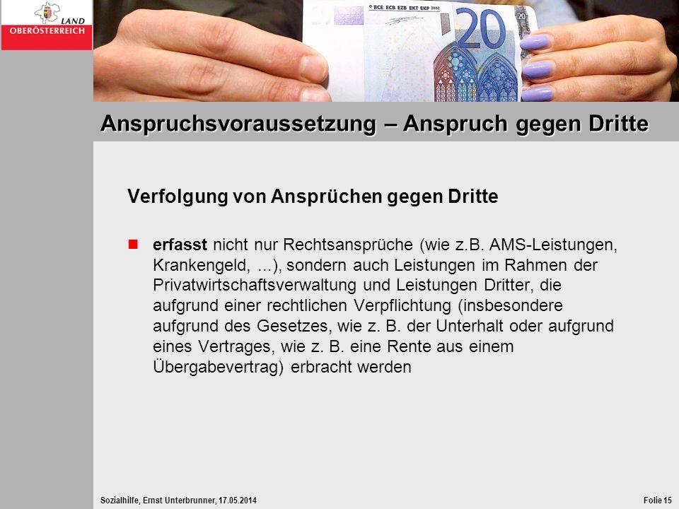 Sozialhilfe, Ernst Unterbrunner, 17.05.2014Folie 15 Anspruchsvoraussetzung – Anspruch gegen Dritte Verfolgung von Ansprüchen gegen Dritte erfasst nich