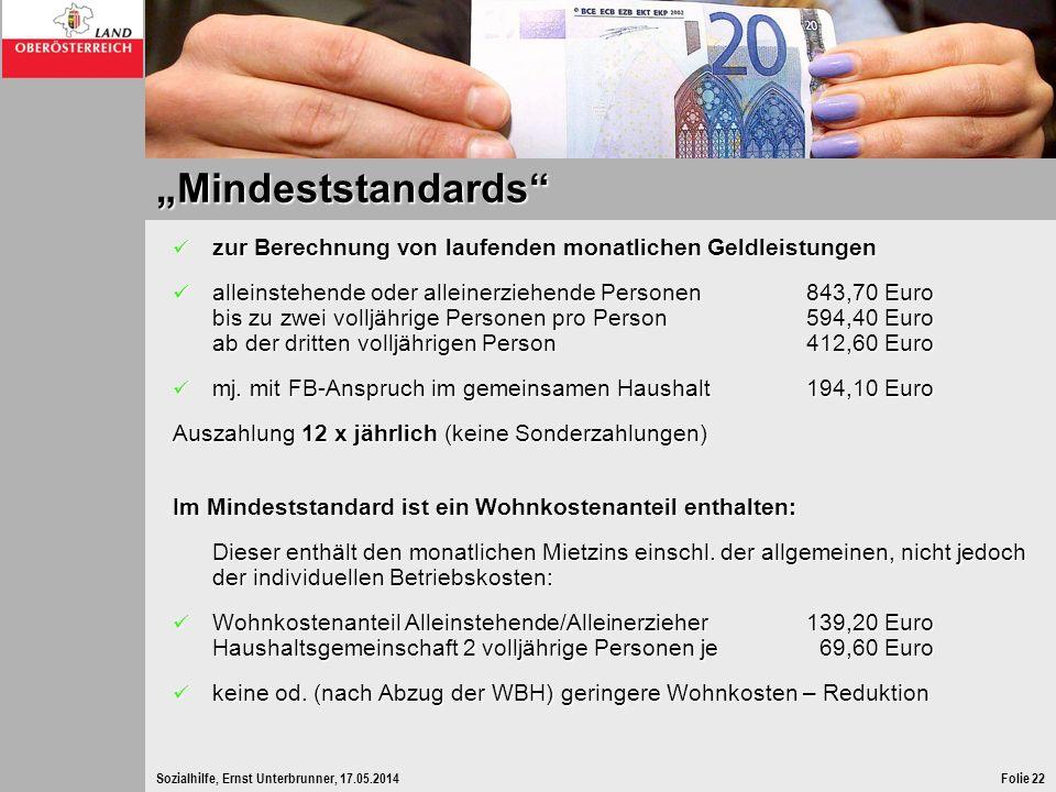 Sozialhilfe, Ernst Unterbrunner, 17.05.2014Folie 22 Mindeststandards zur Berechnung von laufenden monatlichen Geldleistungen zur Berechnung von laufen