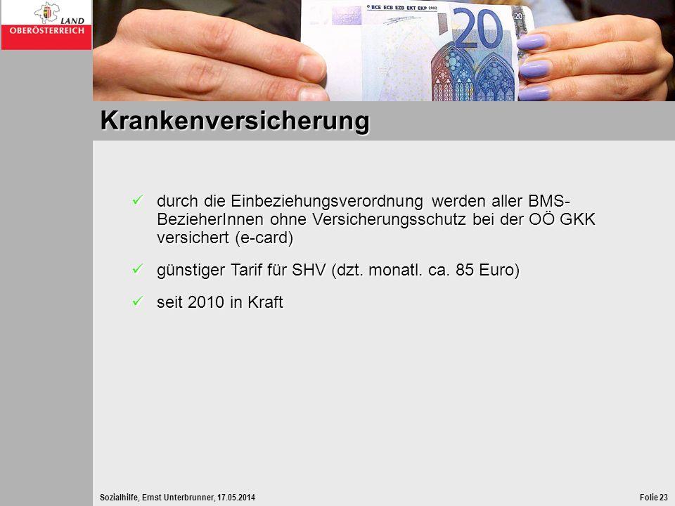Sozialhilfe, Ernst Unterbrunner, 17.05.2014Folie 23 Krankenversicherung durch die Einbeziehungsverordnung werden aller BMS- BezieherInnen ohne Versich