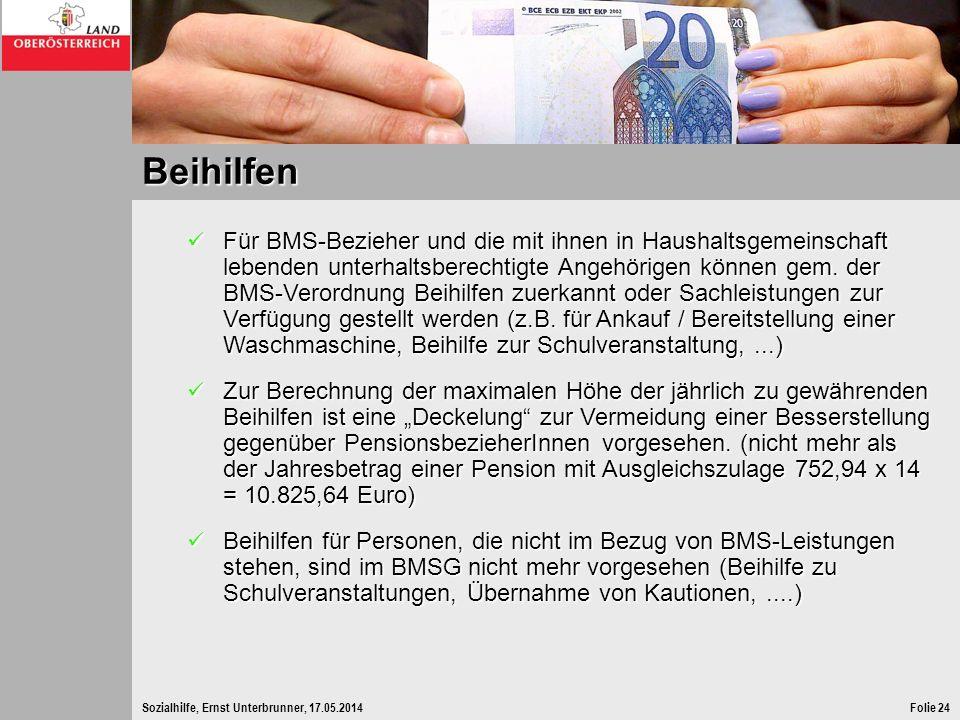 Sozialhilfe, Ernst Unterbrunner, 17.05.2014Folie 24 Beihilfen Für BMS-Bezieher und die mit ihnen in Haushaltsgemeinschaft lebenden unterhaltsberechtig